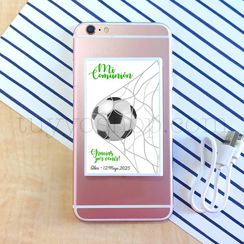 Powerbank personalizada para comunión, modelo fútbol powerbank para movil futbol2