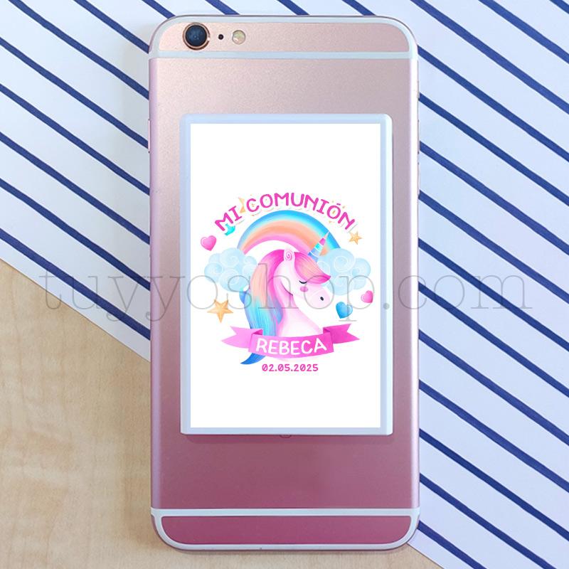 Powerbank personalizada para comunión, modelo unicornio powerbnak personalizada unicornio