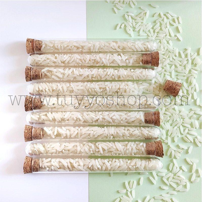 Probeta para el arroz de boda. Tapón de corcho. 11cm. probeta arroz boda