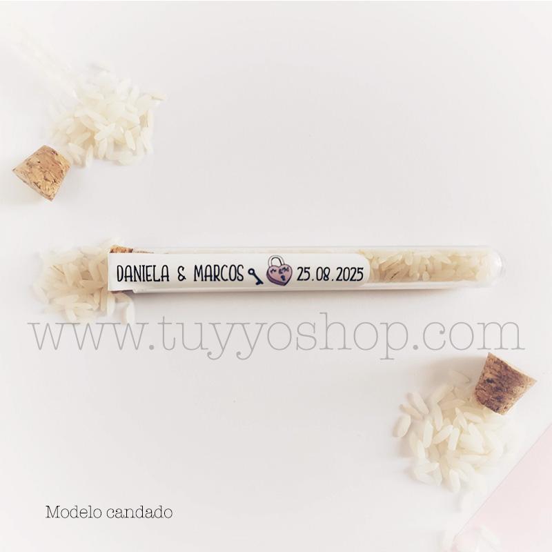 Probeta personalizada para arroz de boda. 11cm. Varios diseños. probeta de arroz para boda candado