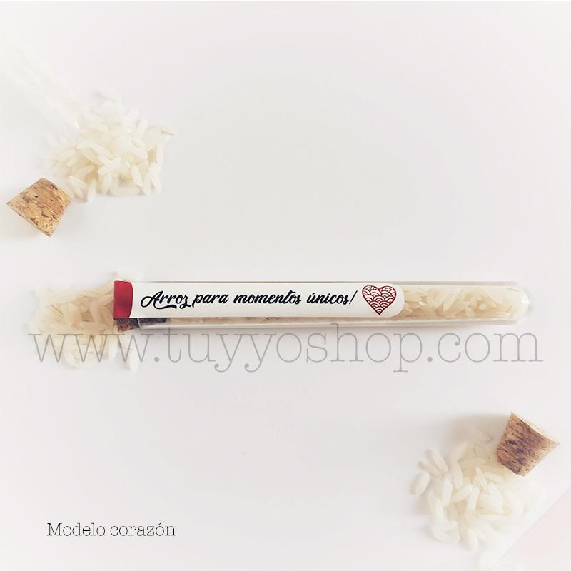 Probeta personalizada para arroz de boda. 11cm. Varios diseños. probeta de arroz para boda corazon