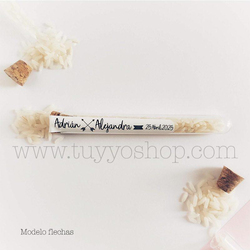Probeta personalizada para arroz de boda. 11cm. Varios diseños. probeta de arroz para boda flechas