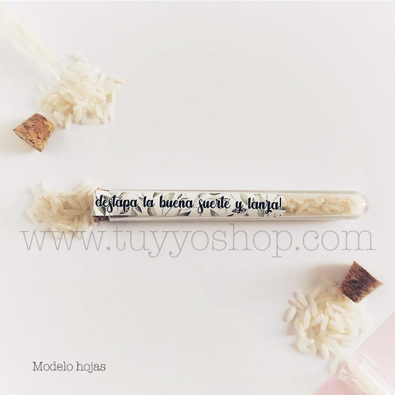 Probeta personalizada para arroz de boda. 11cm. Varios diseños. probeta de arroz para boda hojas