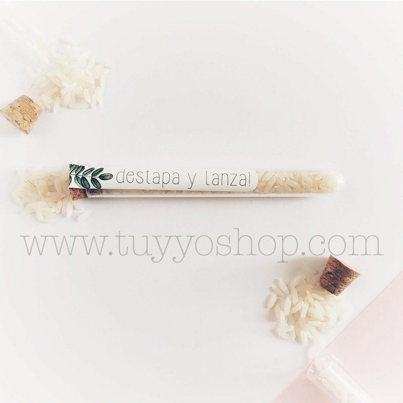 Probeta personalizada para arroz de boda. 11cm. Varios diseños. probeta de arroz para boda jaen