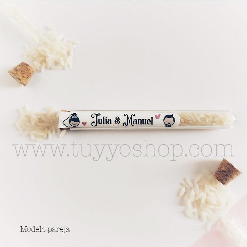 Probeta personalizada para arroz de boda. 11cm. Varios diseños. probeta de arroz para boda pareja