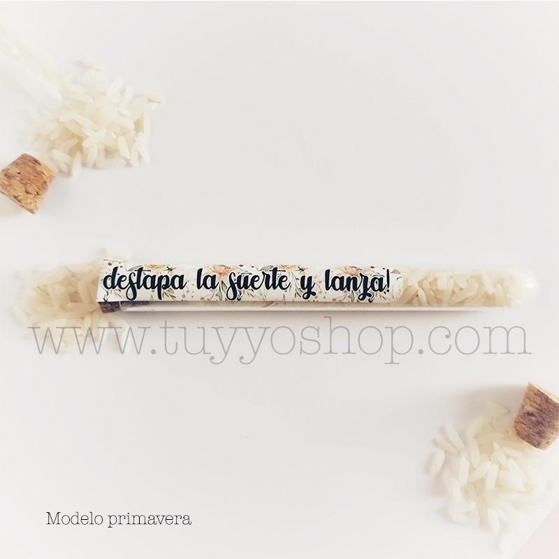 Probeta personalizada para arroz de boda. 11cm. Varios diseños. probeta de arroz para boda primavera