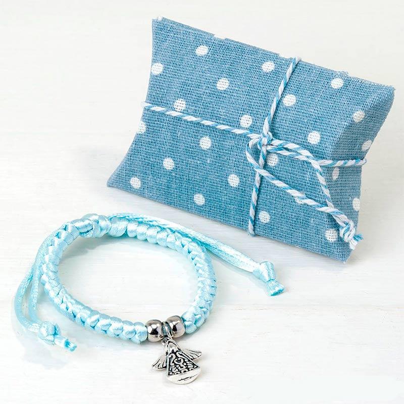 Bautizo pulsera con medalla de angelito presentada en estuche azul