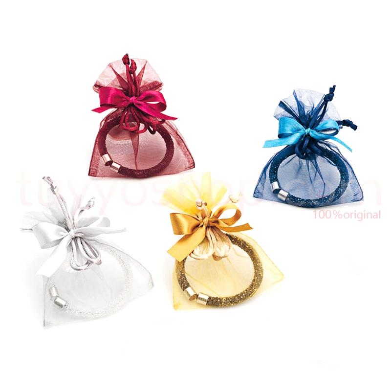 Pulsera para bodas, cristalitos. Bolsa y lazo de regalo. 4 colores surtidos.