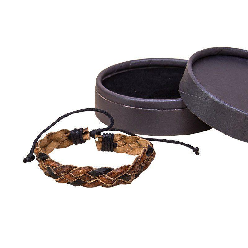 Pulsera cuero marrón y negra para hombre en caja regalo