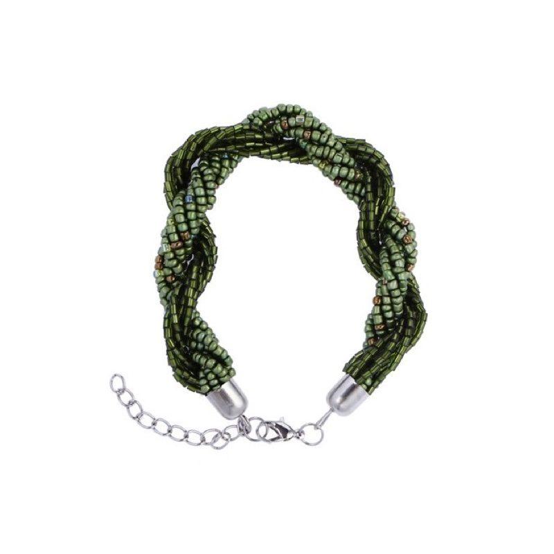 pulsera enrrollada verde oscuro