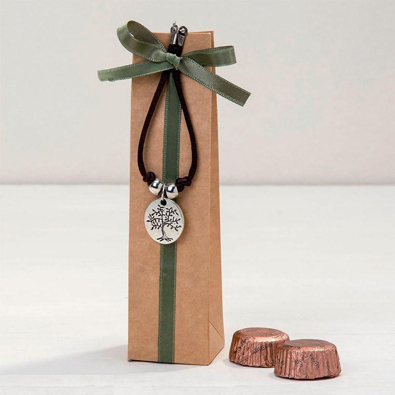Pulsera para boda, medalla árbol de la vida en estuche de regalo