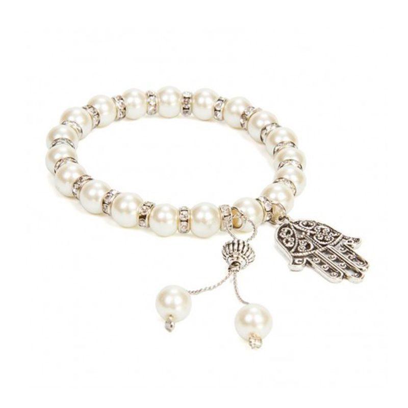 Pulsera perlas colgante mano