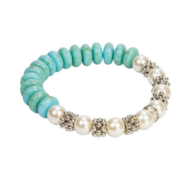 Pulsera de perlas y piedras en color turquesa. Detalles de boda.