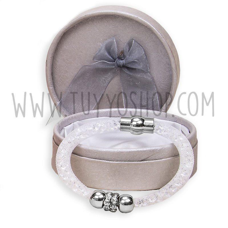 pulsera brillo color blanca