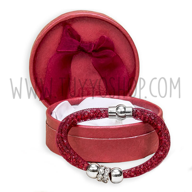 pulsera brillo color rojo