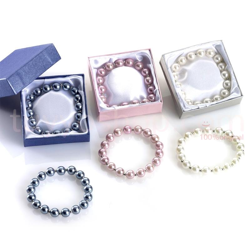 Pulsera de perlas de cristal con caja de cartón de regalo. 3 colores.
