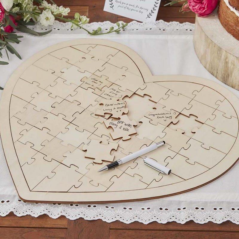 Puzzle de madera. Para firmas. 58 piezas.