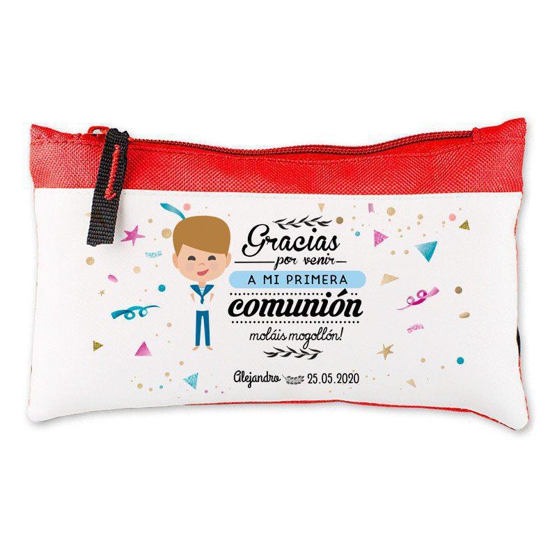 Estuche personalizado para comunión. 20,5x12,5cm. Varios colores. Moláis mogollón regalo comunion estuche chico rojo