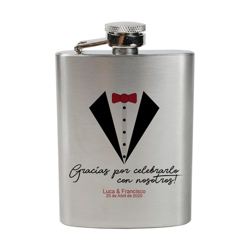 Petaca para regalo de boda. Smoking. Varios tamaños.