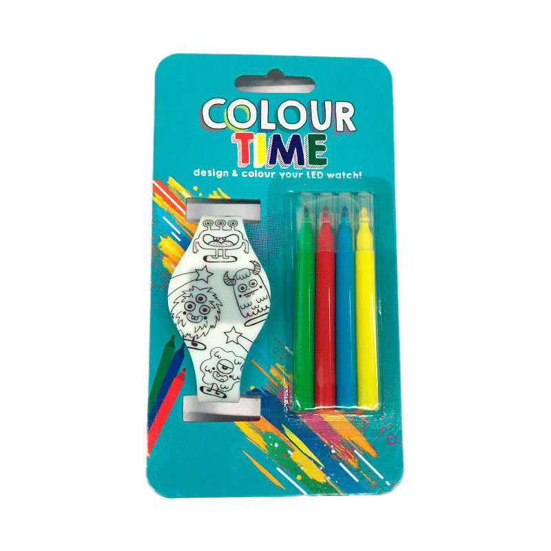 Reloj led para colorear. Pinturas y pilas incluídas.