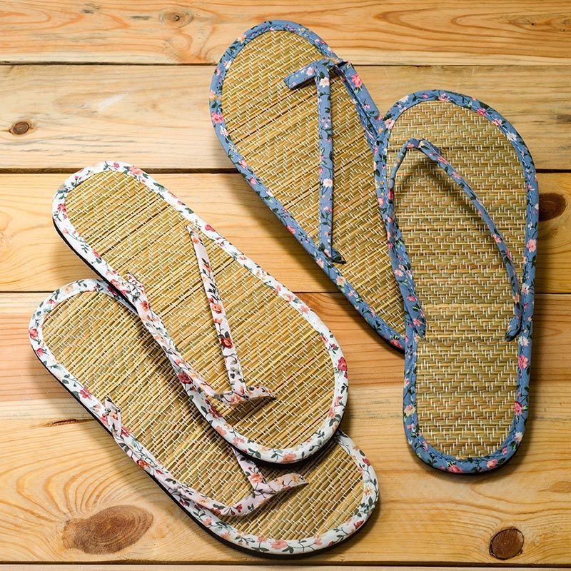 Sandalias para boda en bambú y florecitas. 2 modelos. Talla M