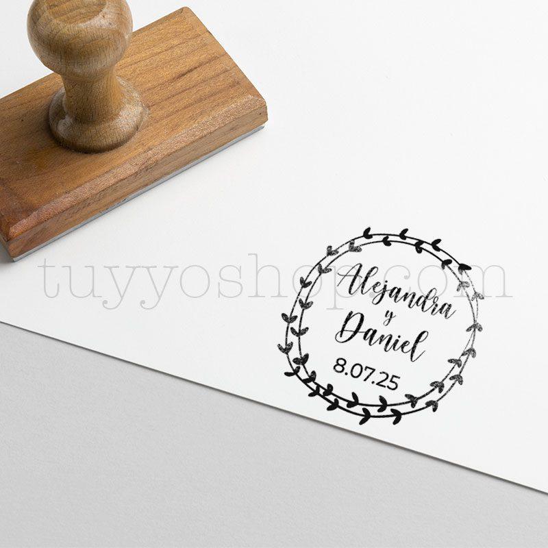 Sello personalizado para boda modelo romantic sello boda marcaje romantic