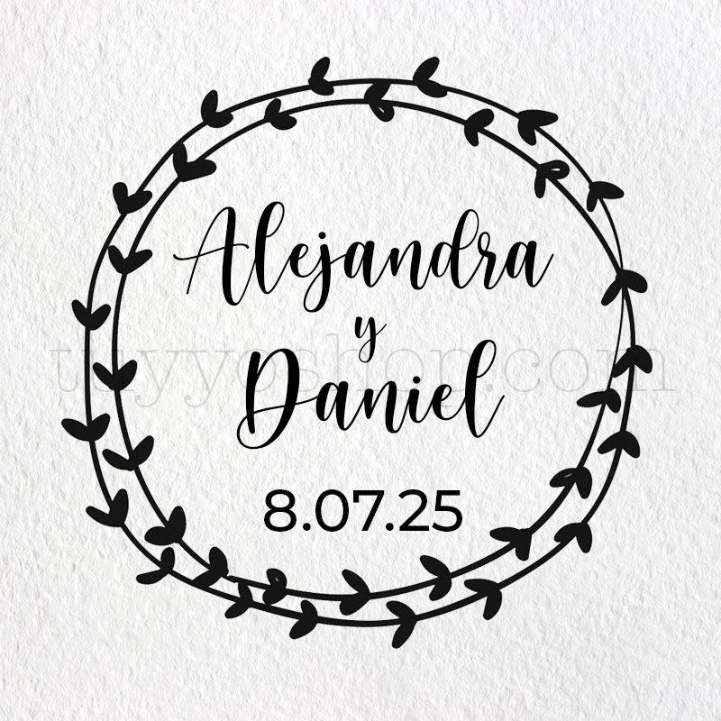 Sello personalizado para boda modelo romantic sello boda marcaje romantic2