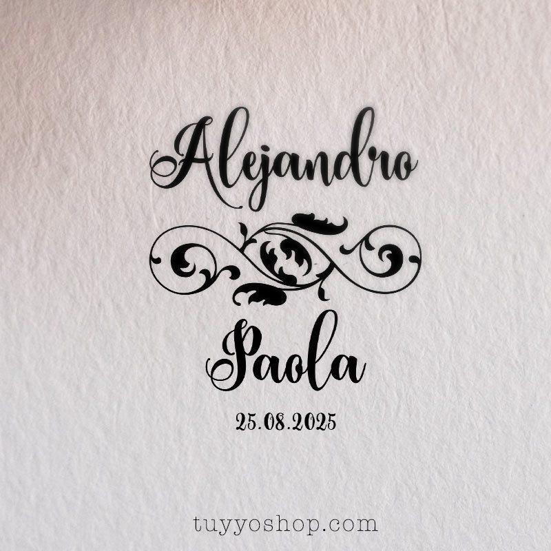 Sello personalizado para boda. Modelo lazo floral sello boda modelo pareja lazo floral