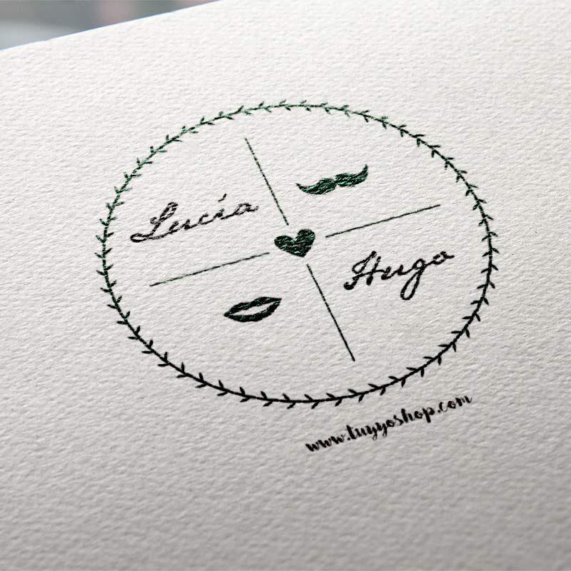 sello en círculo personalizado para boda