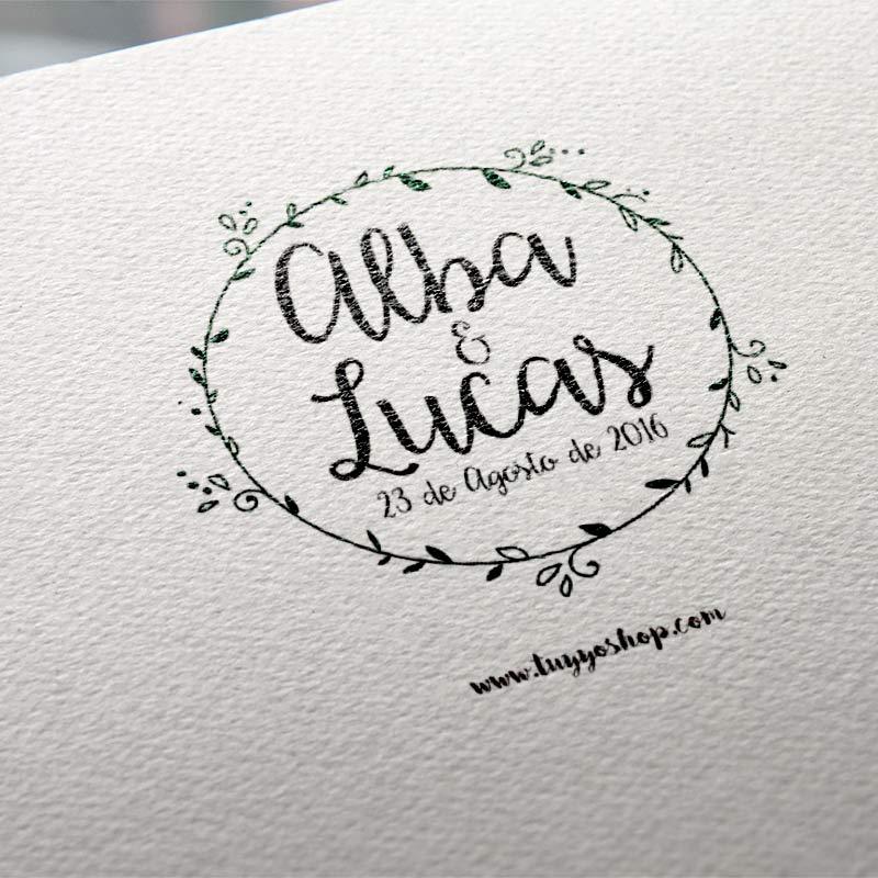 sello personalizado diseño circulo floral