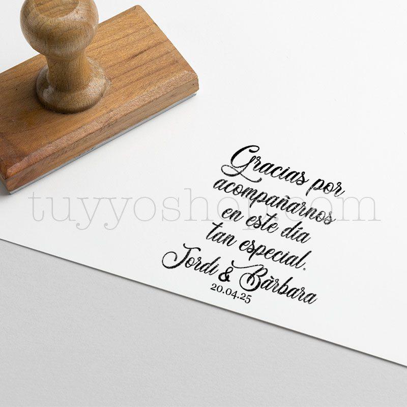 Sello de boda personalizado, gracias por acompañarnos, 5x4cm sello de boda personalizado gracias por 2