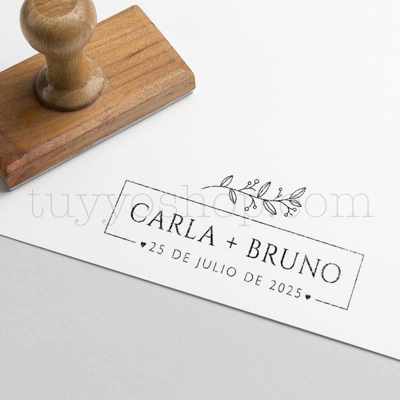 Sello personalizado para boda, modelo secret: 6x2,7cm sello de boda personalizado modelo secret