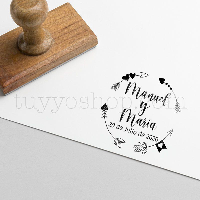 Sello personalizado de boda modelo flechas en círculo sello marcaje bodas flechas circulo