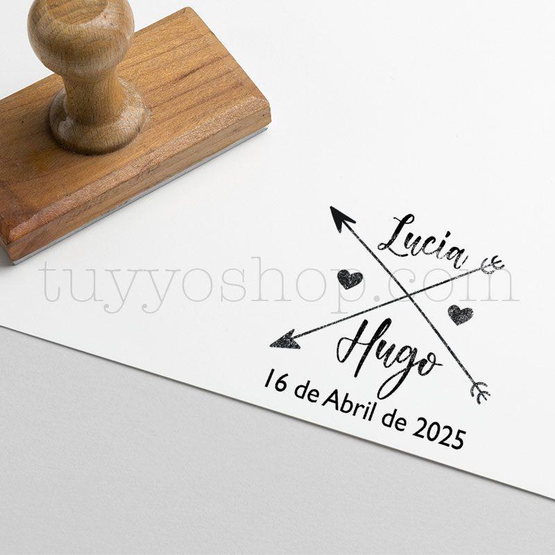 Sello personalizado para boda, modelo flechas en cruz sello marcaje bodas flechas encruz