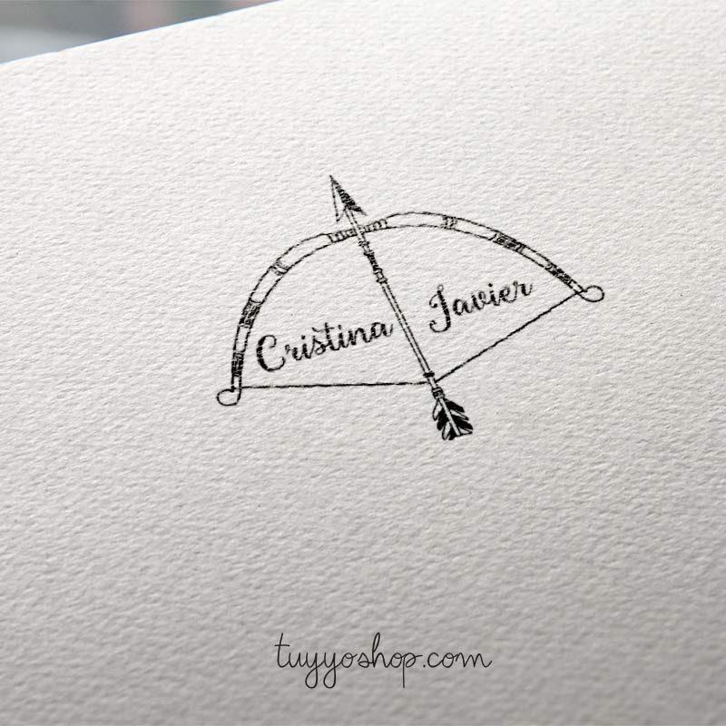 sello para boda modelo arco