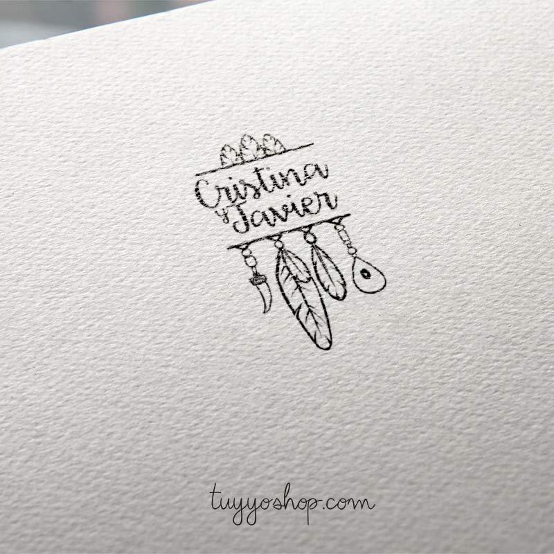 sello para boda modelo boho