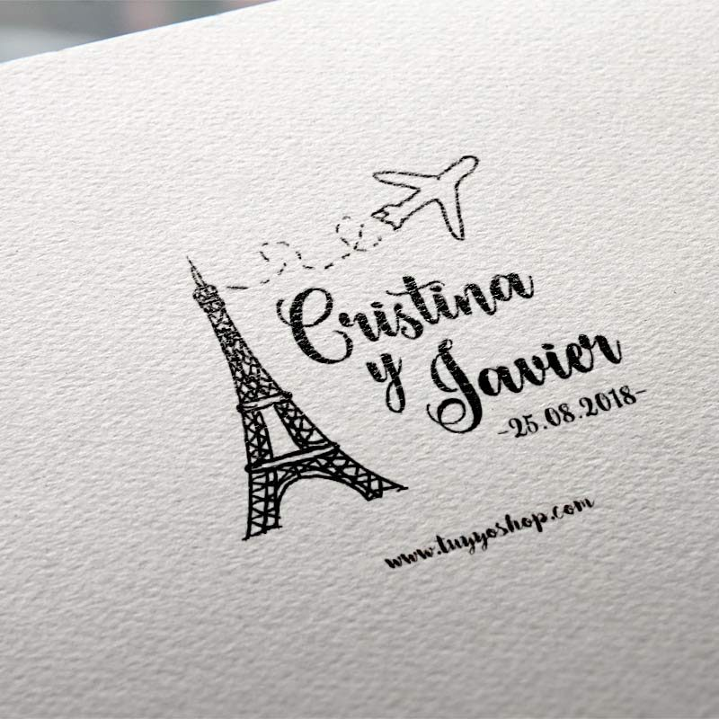 Sello para boda en madera modelo París