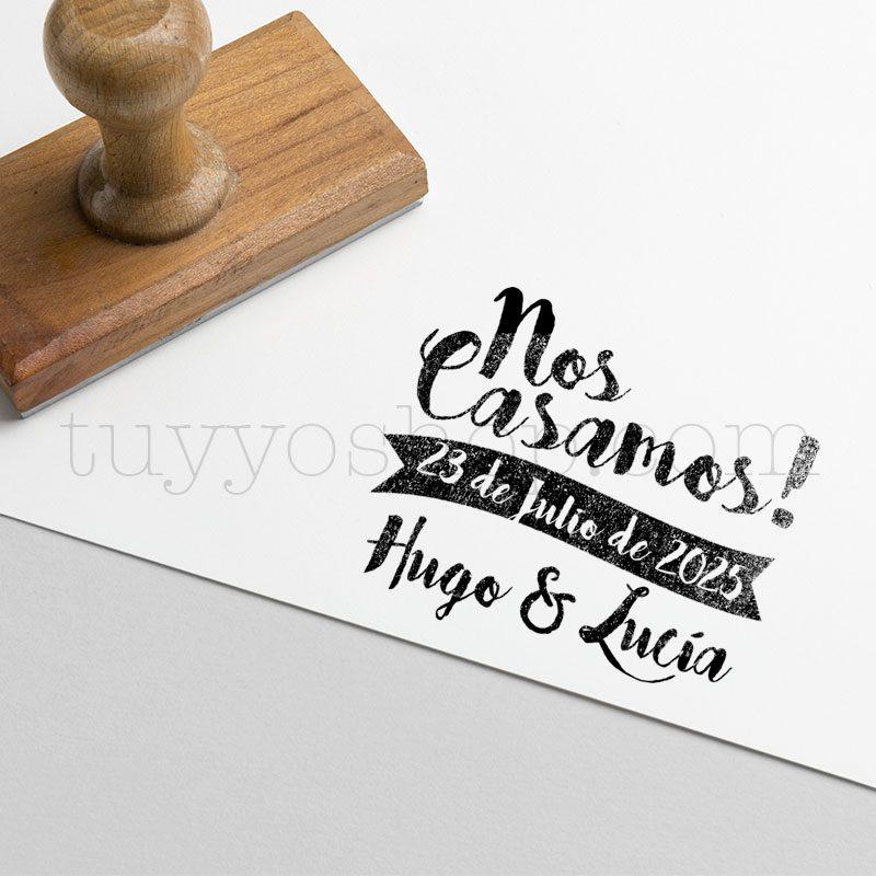 Sello personalizado de caucho, con frase Nos Casamos sello para novios nos casamos