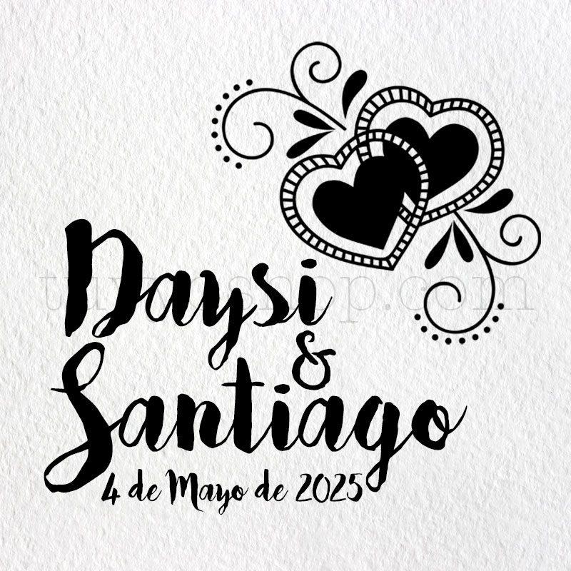Sello de boda doble corazón, personalizado, cuña de madera sello personalizado boda doble corazon 2
