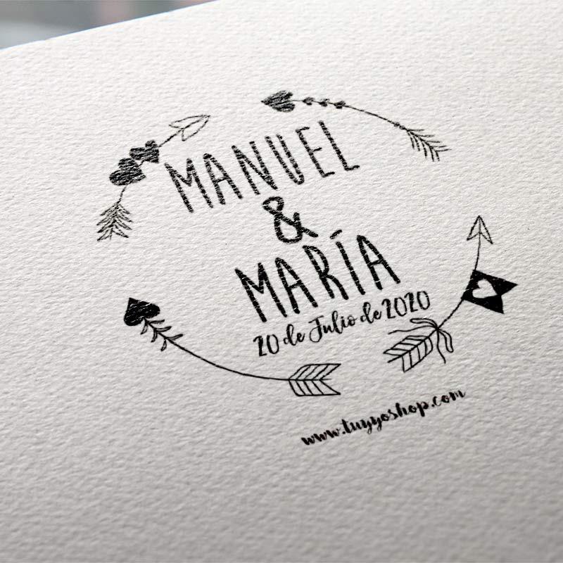 Sellos de boda personalizados ¡Y razones por las que necesitas uno! sello personalizado boda flechas 800x800 1