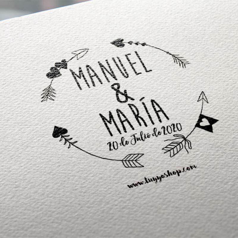 sello personalizado boda flechas