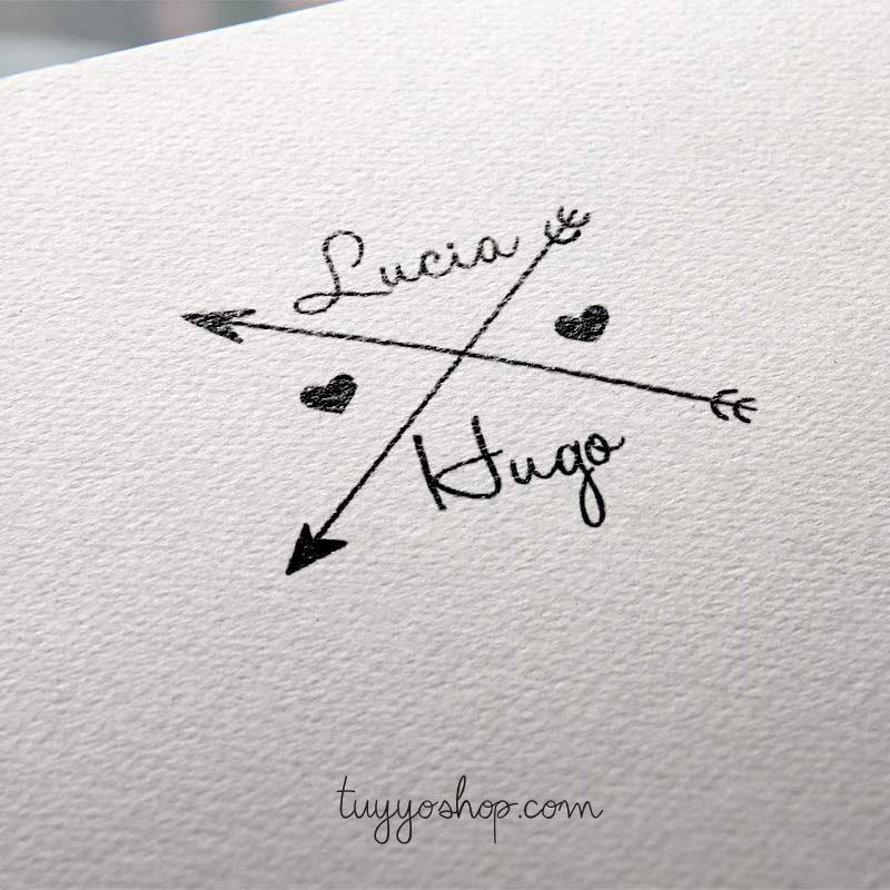 sello personalizado para boda diseño flechas