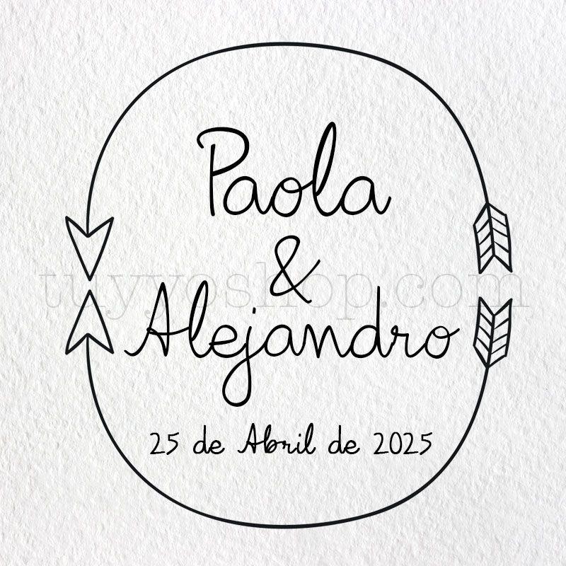 Sello personalizado para boda, modelo arrows sellos de caucho para boda arrow2