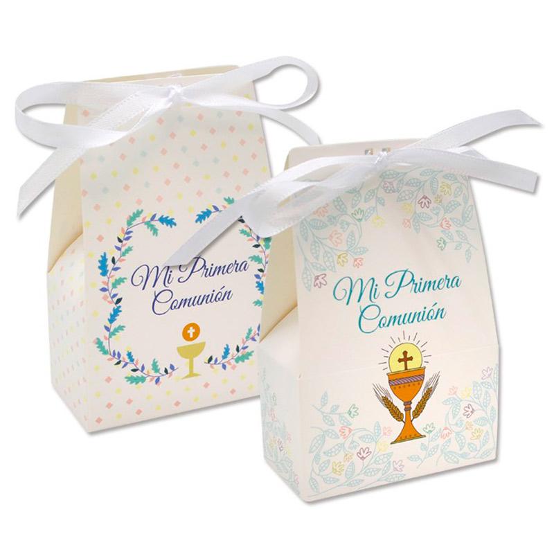 Set de 2 cajas de regalo Beige Primera Comunión.
