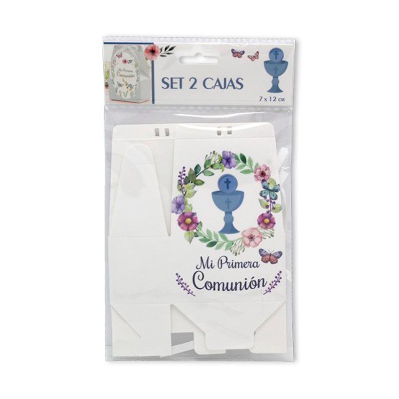 Set de 2 cajas de regalo Blancas Primera Comunión.