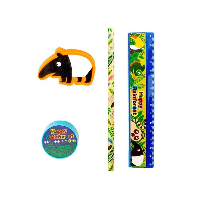 Set 4 piezas papelería animales