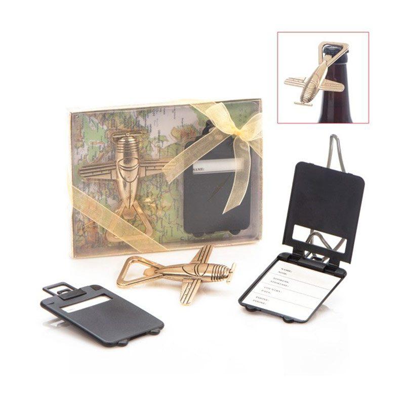 Ultimos regalos para invitados añadidos set abridor con identificador maleta
