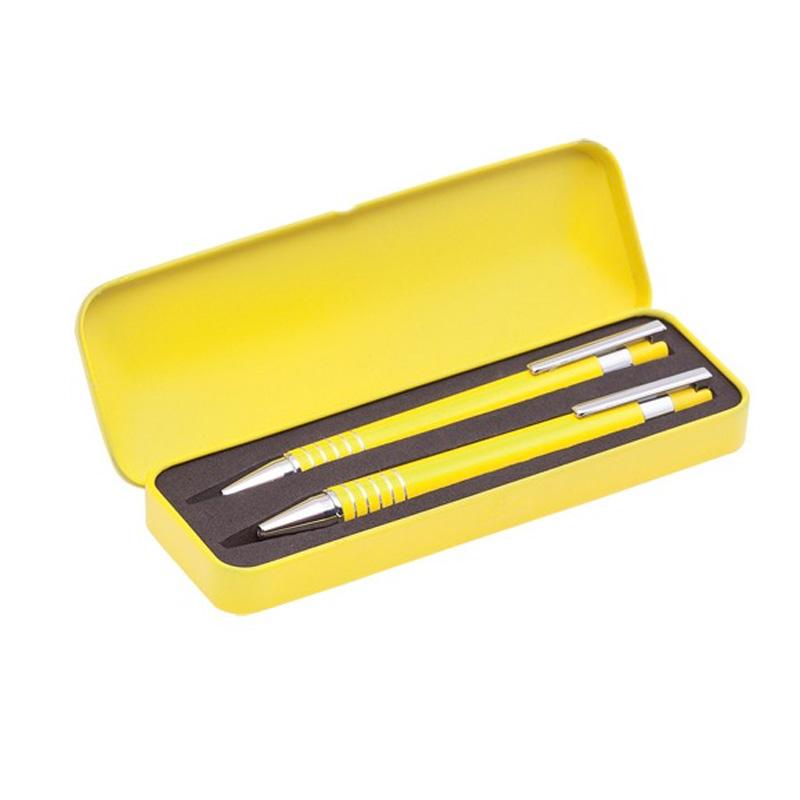 Set bolígrafo y portaminas en cajita metálica. Varios colores.