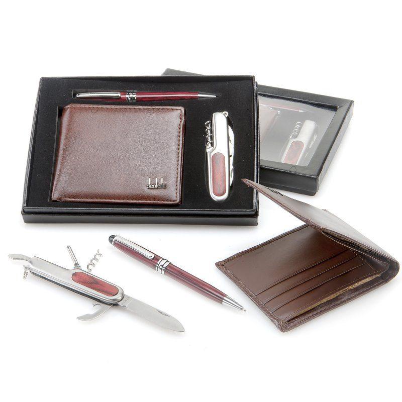 Set de cartera, bolígrafo y navaja multiusos