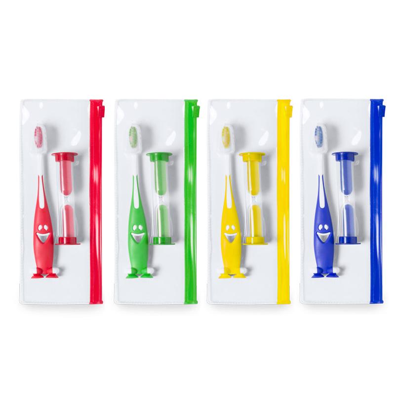 Set cepillo de dientes, reloj de arena y bolsa con cierre zip. 4 colores.